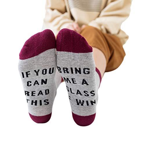 Happy Socks -Aisumi-Unisex-Kontrastfarbe Lustiges Sprichwort, Wenn Sie Dieses Bier Lesen Können Wein Crew Socken -