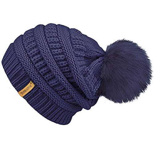 TOSKATOK® LADIES TEXTURED KNIT BEANIE HAT WITH DETACHABLE FAUX FUR POM POM d0d8a5cf334d