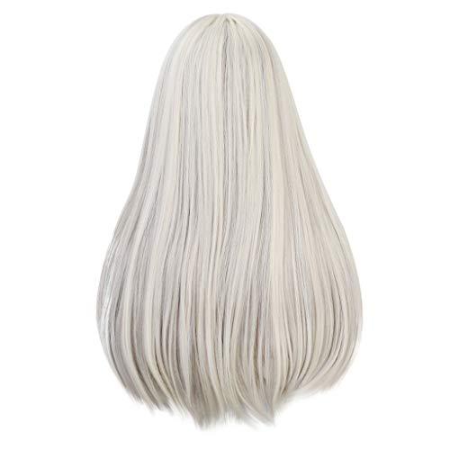 Yusell Damenmode Chemiefaser Haar Weiß Highlights Gefärbt Braun Lange Pony Perücke -