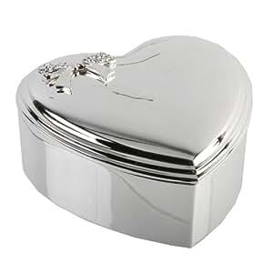 "Heart Silverplated Jewellery/Trinket Box - Crystal Box 3.5"""