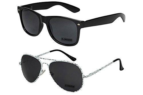 X-CRUZE 2er Pack X03 Klassische Pilotenbrille Fliegerbrille Spiegelbrille Nerdbrille Nerd Vintage Retro Sonnenbrille Brille - 1x Modell 1 (Nerd schwarz) und 1x Modell 6 (weiß)