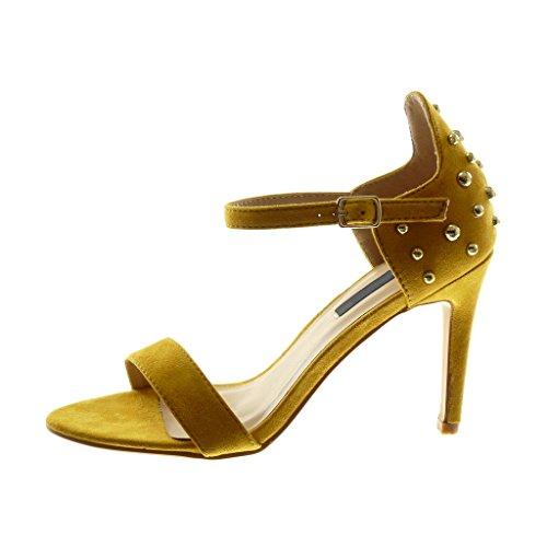 Di Sandalo Pattino Angkorly Femmina Cinghia Tacco A Caviglia Alto Stiletto 10 Borchie Cm Oro Perla Spillo Modo Giallo Pattino qBF1nwxd1E