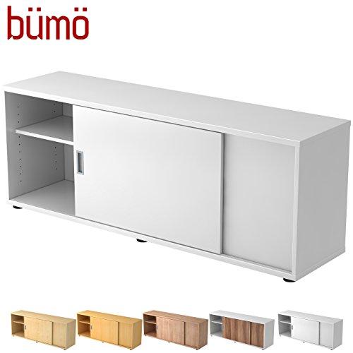 Bümö® Sideboard mit Schiebetür | Büro Schiebetürenschrank | Für Aktenordner & Stauraum für Material | Büromöbel | in 12 Farben (Weiß)