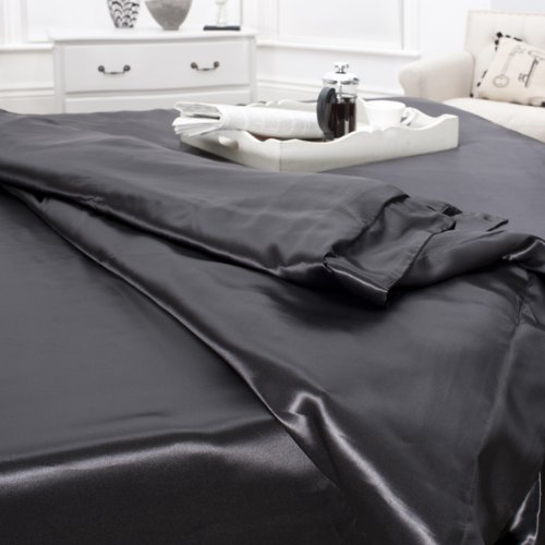 Jasmine Silk 100% Mulberry 19MM Charmeuse Silk Fitted Sheet (BLACK) - DOUBLE 140cm x 190cm + 26cm
