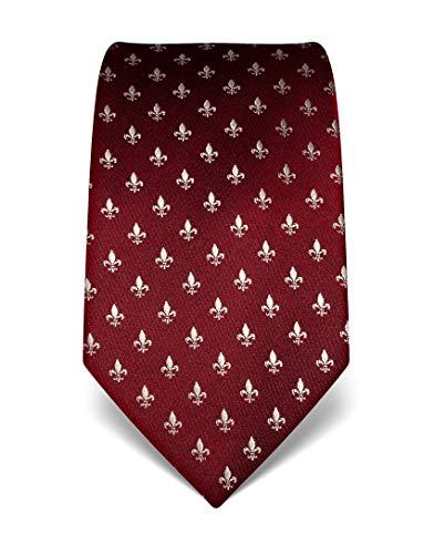 Vincenzo Boretti Herren Krawatte reine Seide Fleur-de-Lis Muster edel Männer-Design zum Hemd mit Anzug für Business Hochzeit 8 cm schmal/breit burgunder