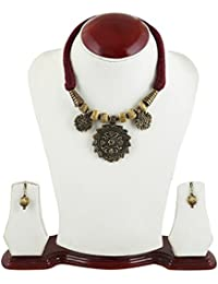 Arittra Brown Golden\Gold Oxidized Flower Pendant Necklace Set Matching Earrings Golden Beads Thread\ Dori Necklace...