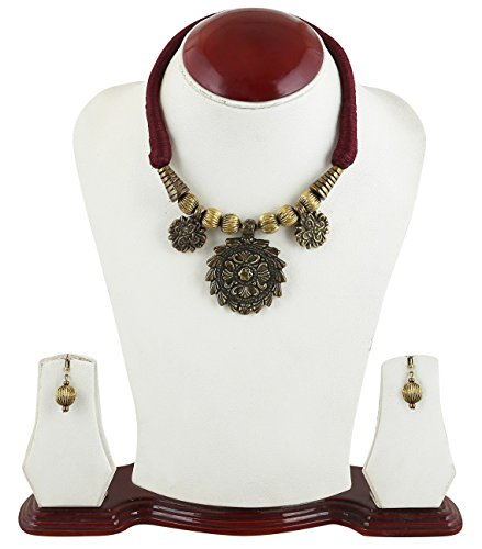 Arittra Red Golden five strip brass rani haar ethnic\traditional\tribal style designer Necklace Set with earrings for women and girls ...  available at amazon for Rs.210