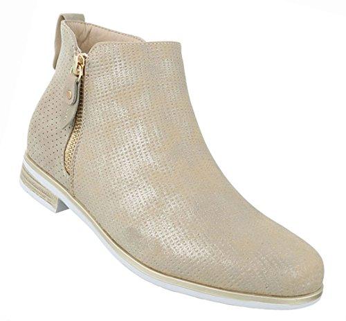 Damen Schuhe Stiefeletten Stiefel Chelsea Boots Used Optik Schwarz Gold