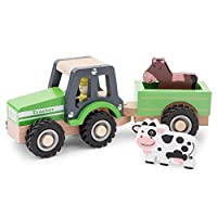 New Classic Toys - 11941 - Play Figures & Vehicles - Tractor with Trailer and Play Figures - Green