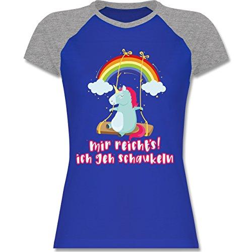 Shirtracer Einhörner - Mir Reichts, Ich geh Schaukeln - Einhorn - Zweifarbiges Baseballshirt/Raglan T-Shirt für Damen Royalblau/Grau meliert