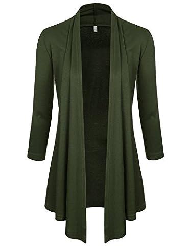 NEARKIN (NKNKWCD6937) Womens Open Front Slim Cut Look 3/4 Sleeve City Casual Cardigans KHAKI UK 6~8(Tag size S)