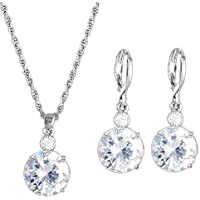 SEGRJ Fashion Rhinestone Jewelry Set Round Pendant Necklace Bridal Leaverback Earrings Silver
