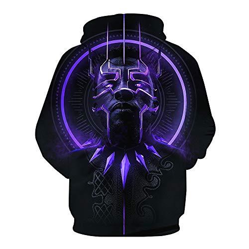 DTYTX 3D HD Unisex Hoodie Print Sweatshirts Mantel Tops Pullover Cosplay Langarm Sportbekleidung Black Panther XL -