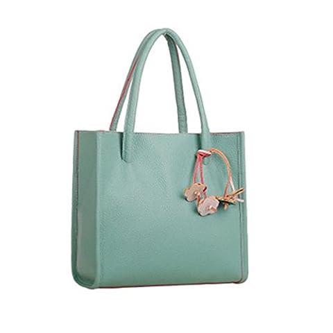 Internet Femmes Couleur de bonbons Sac à main de Faux cuir sac à bandoulière Avec ornements 29cm x 27cm x 9cm (Vert)