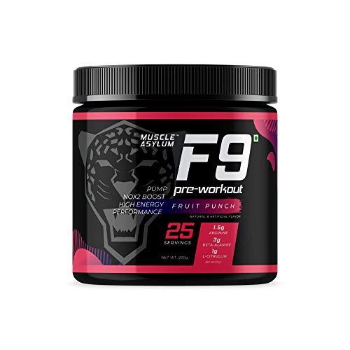 Muscle Asylum F9 Pre-Workout - 25 Servings, 200gm (Fruit Punch)