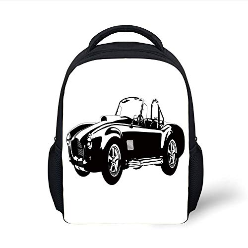 Kids School Backpack Cars,American Authentic Aged Vehicle with Stylized Wealth Properties Engine Icon Print Decorative,Black White Plain Bookbag Travel Daypack Icon Black Belt