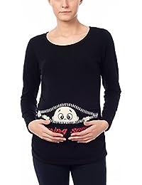 8c0819cc06e6 M.M.C. Coming Soon - Premaman Abbigliamento Donna Magliette Premaman T-Shirt  Divertente Gravidanza - Maniche