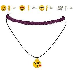 Accesorios Lux Emoji feliz corazón amor 100Keep It Real 100% tejido gargantilla collar pendientes set