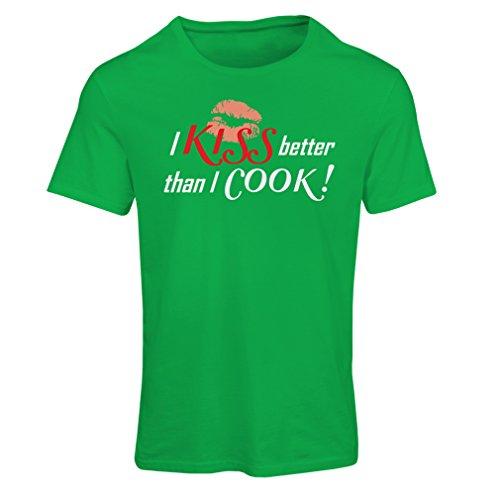 Frauen T-Shirt Ich küsse besser als ich koche! - lustige Chef Zitate (Medium Grün Mehrfarben) (Australien T-shirt Fitted)