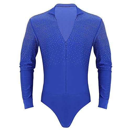 inhzoy Männer Body ouvert Glänzend Hemd Langarmshirt V-Ausschnitt Bodywear für Tanz Latin Wettbewerb Königsblau Medium - Wettbewerb V-ausschnitt
