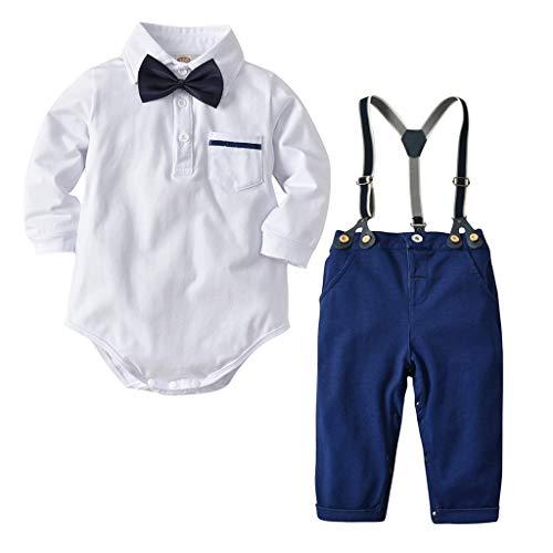 Jimmackey 2pcs neonato camicia pagliaccetto, bebè gufo stampa tutine body + solido bretelle pantaloni gentiluomo vestito set (bianco, 3-6 mesi)