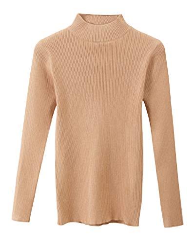 ShiFan Damen Warme Winterpullover Langarm Pullover Basic Mit Stehkragen Kaki L