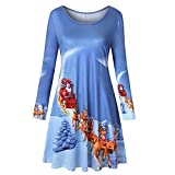 YWLINK Damen Lange ÄRmel Jahrgang Weihnachtsmann Rudolf Weihnachtsdruck Rundhals Party Kleid Pullover Langes Fell
