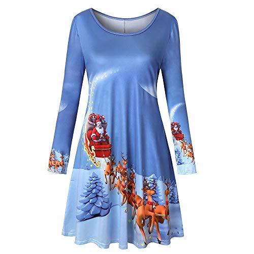 VEMOW Heißer Elegante Damen Abendkleid Vintage Weihnachten Santa Gedruckt Kostüm A-Line Lose...