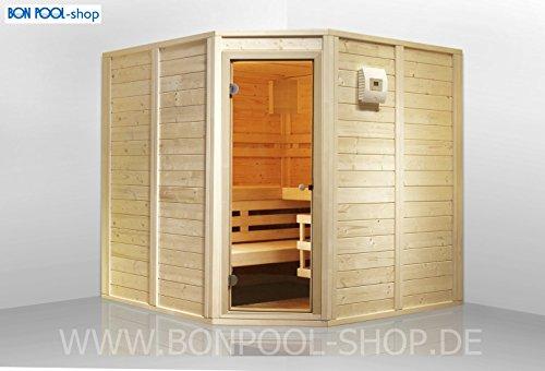 BON POOL Sauna-Set, Eckeinstieg B x T x H 200x200x200 finnische Sauna 7,5kW