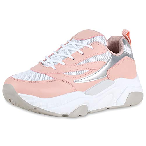 SCARPE VITA Damen Plateau Sneaker Sportschuhe Schnürer Lack Freizeit Schuhe Turnschuhe 176709 Rosa Lack 38