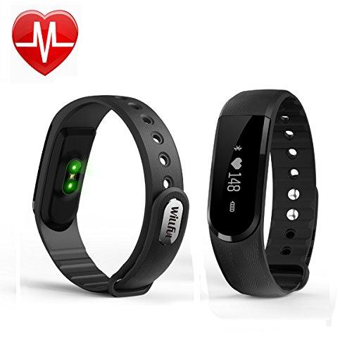 Willful Monitor del ritmo cardíaco pulsera, Bluetooth 4.0 Pulsera de actividad,Wireless rastreador de ejercicios,Podómetro con pulsímetro y dormir Análisis Contador de Calorías vibración Despertador llamada SMS SNS vibración para Android IOS (Negro)