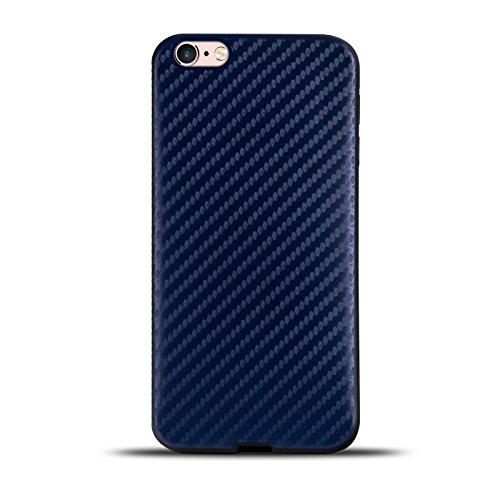 iPhone 6s Plus, 6 Plus Hülle, Conie Mobile Carbon TPU Backcover Silikon Schutzhülle Rückschale in Blau Blau