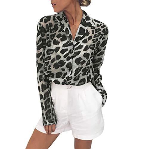 s Damen Große Größen Mode Frauen Leopardenmuster Lange Ärmel Taste Unten Hemden Leopardenmuster Sweatshirts Sweater Pullover Blusen Hemd Oberteile Freizeit T-Shirt Mädchen Teenager ()