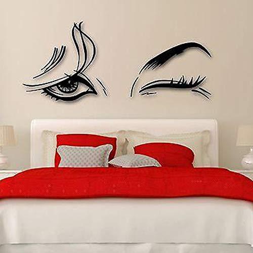 wlwhaoo Schöne WomanVinyl Aufkleber Schönheitssalon Weibliche Augen Make-Up Mädchen WandaufkleberAbnehmbare Kunstwand Für Schlafzimmer lila 56x132 cm