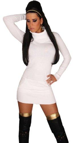 In Style Langarmiges Strickkleid/ Pullover mit Rollkragen, Damen, Einheitsgröße (32-38) Gr. Einheitsgröße, weiß - weiß