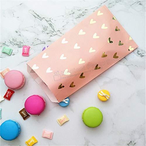 100 stücke Partei Zugunsten Tasche Erröten Rosa Folie Gold Wärme Candy Papier Taschen Snack Süße Verpackung für Baby Dusche 1st geburtstag Behandeln Tasche