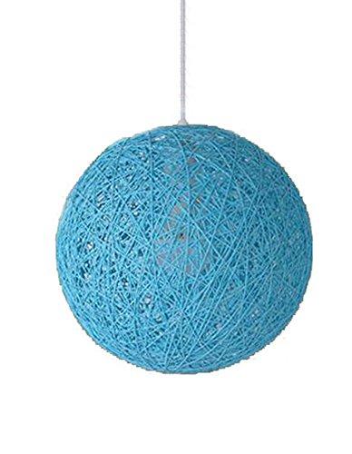 Cozyle Moderne Wicker Rattan Globus Ball Stil Decke Pendelleuchte Lampenschirm Blau 25 cm (Blau Wicker)