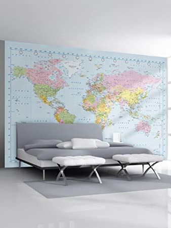 1wall stunning digital colour world map wallpaper wall mural 1wall stunning digital colour world map wallpaper wall mural amazon kitchen home gumiabroncs Images