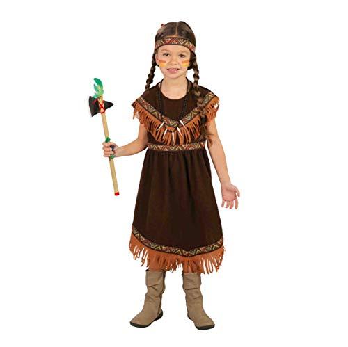 Guirca Indiana Pellerossa Kostüm für Mädchen, Farbe: Braun, 7-9 Jahre (125-135 cm), 82721 (Redskins Kostüm)