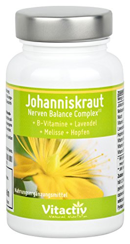 JOHANNISKRAUT - Nerven Balance Complex - 4 natürliche Kräuter und Vitamine zur Unterstützung des...
