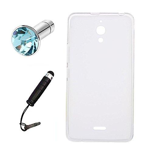 Lusee (Nur für 3G Version Silikon TPU Hülle für Alcatel One Touch Pixi 4 6.0 8050D 3G (6 Zoll) Schutzhülle Case Cover Protektiv Silicone Backcover (halb transparent weiß)