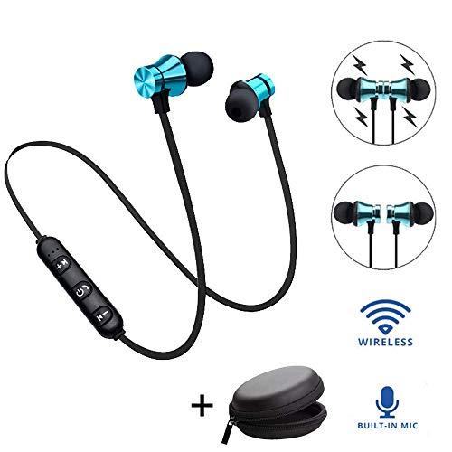 YiGaTech Bluetooth Kopfhörer In Ear Sport V4.2, IPX5 Schweißresistent Stereo magnetischer Sport Ohrhörer mit 10 Meter Reichweite, eingebautes Mikrofon für iPhone, Huawei und Samsung (Blau) -
