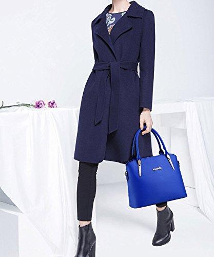Kadcope Ladies Elegante Faux Cuoio zip borsa zaffiro Sapphire