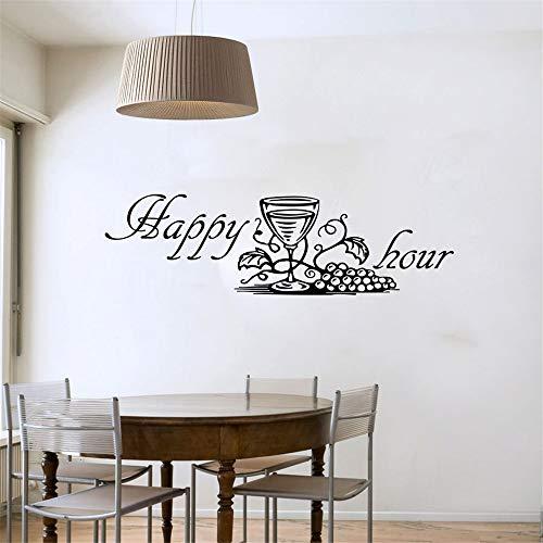 yiyiyaya Happy Hour Traubenweinglas Wandtattoos Moderne Mode Wohnkultur DIY Entfernbarer Wandaufkleber schwarz 123x58cm (Hour Halloween Happy)