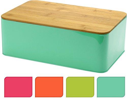 Brotbox TRENDY mit Bambus Schneidebrett - Brotkasten Brotdose Brotaufbewahrung 32x21x12 Türkis
