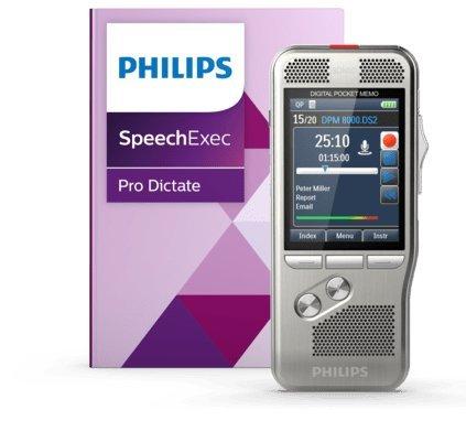 Philips PSE8200 Digitales Diktiergerät Aufnahmegerät inkl. Diktier- und Spracherkennungssoftware, Bedienung per Schiebeschalter, 3D-Mikrofon für ausgez. Stereo-Aufnahmen, Farbdisplay, Edelstahlgehäuse