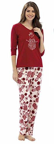 Tom Franks Damen Schlafanzug Glitzern und Schneeflocken Aufdruck Rot