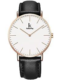 Alienwork IK Reloj cuarzo elegante cuarzo moda diseño atemporal clásico Piel de vaca oro rosa negro 98469L-04