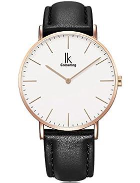 Alienwork IK Quarz Armbanduhr elegant Quarzuhr Uhr modisch Zeitloses Design klassisch Leder rose gold schwarz...