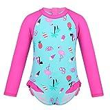 iiniim Baby Mädchen Tankini Bikini Einteiler Badeanzug 3D Druck Langarm UV-Schutz Bademode Schwimmanzug Strandbikini Gr.68-98 Cyan&Rose Rot 68-80/6-12 Monate